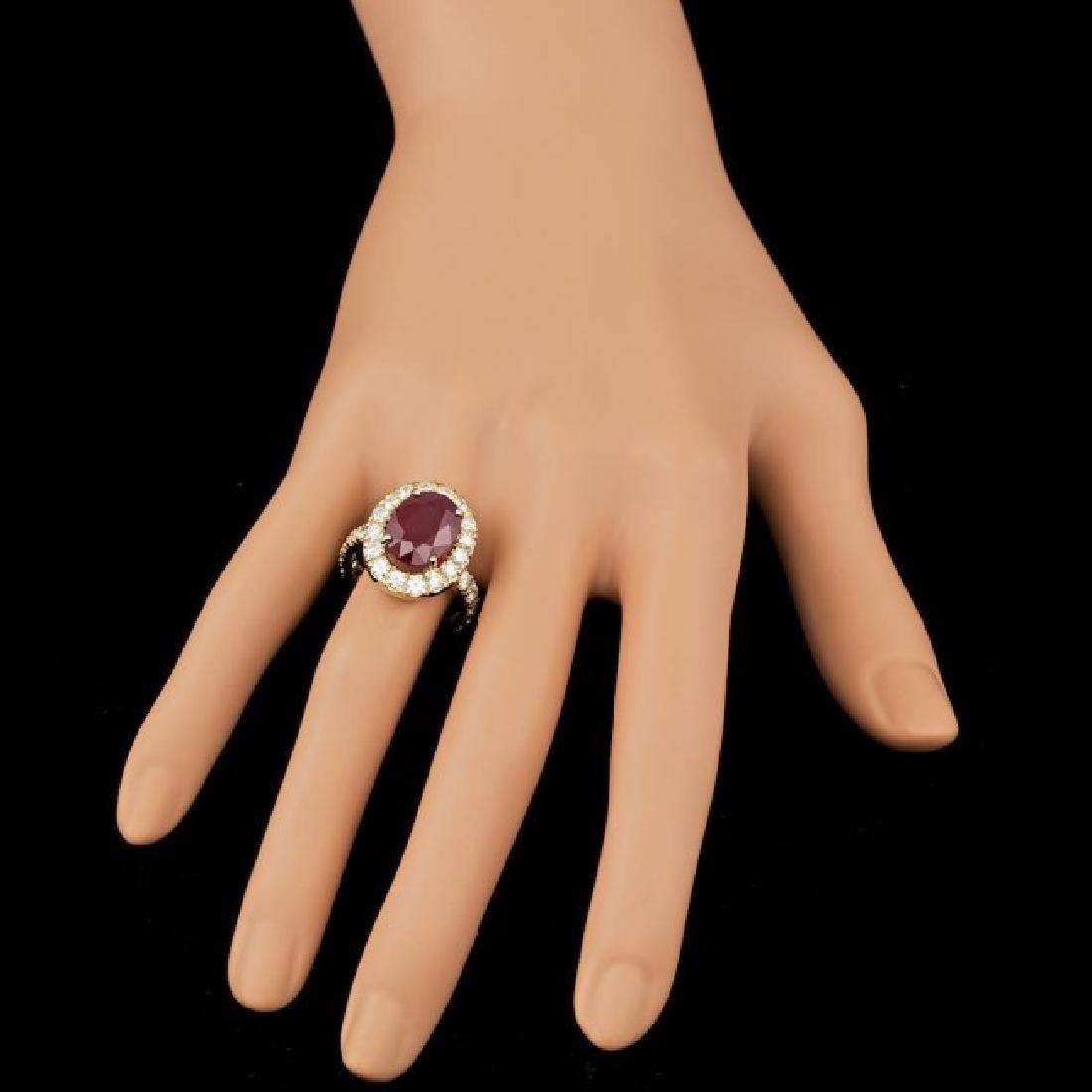 14k Yellow Gold 7.50ct Ruby 1.70ct Diamond Ring - 4