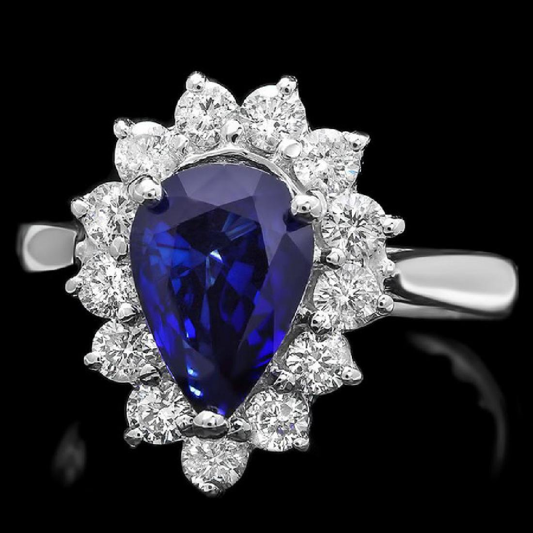 14k Gold 2.07ct Sapphire 0.75ct Diamond Ring