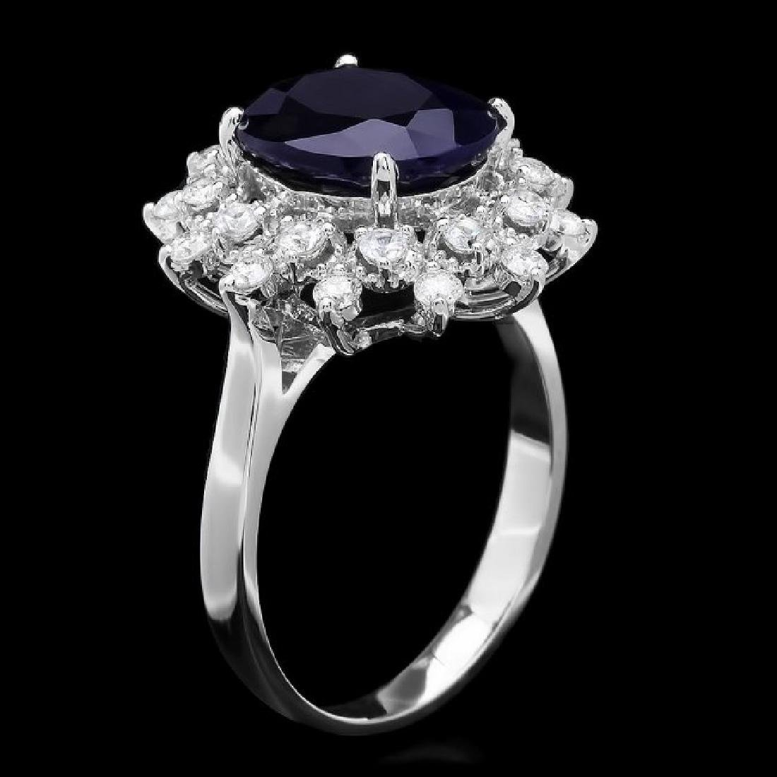 14k Gold 4.00ct Sapphire 0.75ct Diamond Ring - 2