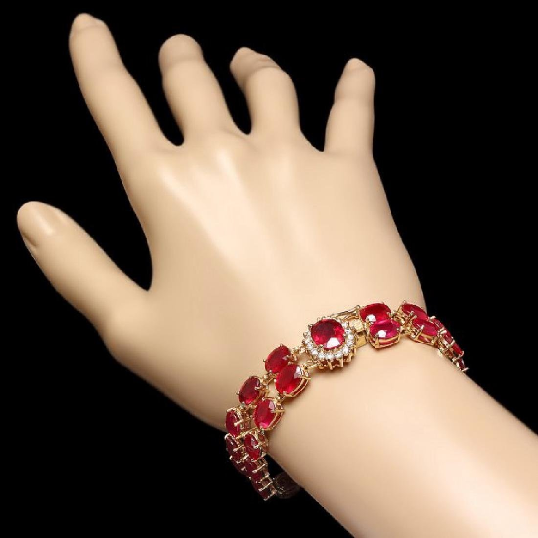 14k Yellow Gold 58ct Ruby 0.65ct Diamond Bracelet - 3