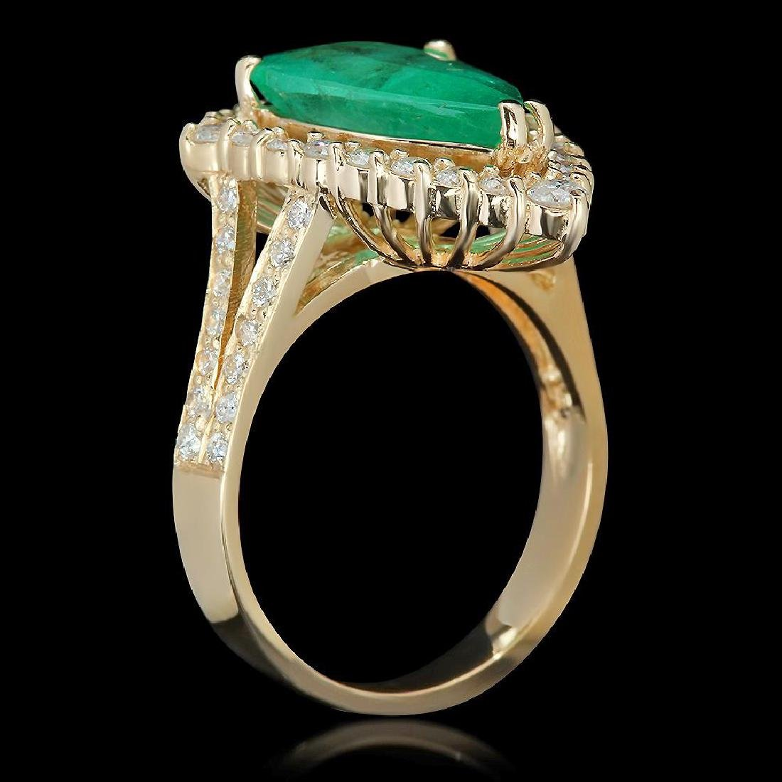 14K Gold 3.82 Emerald 1.05 Diamond Ring - 2