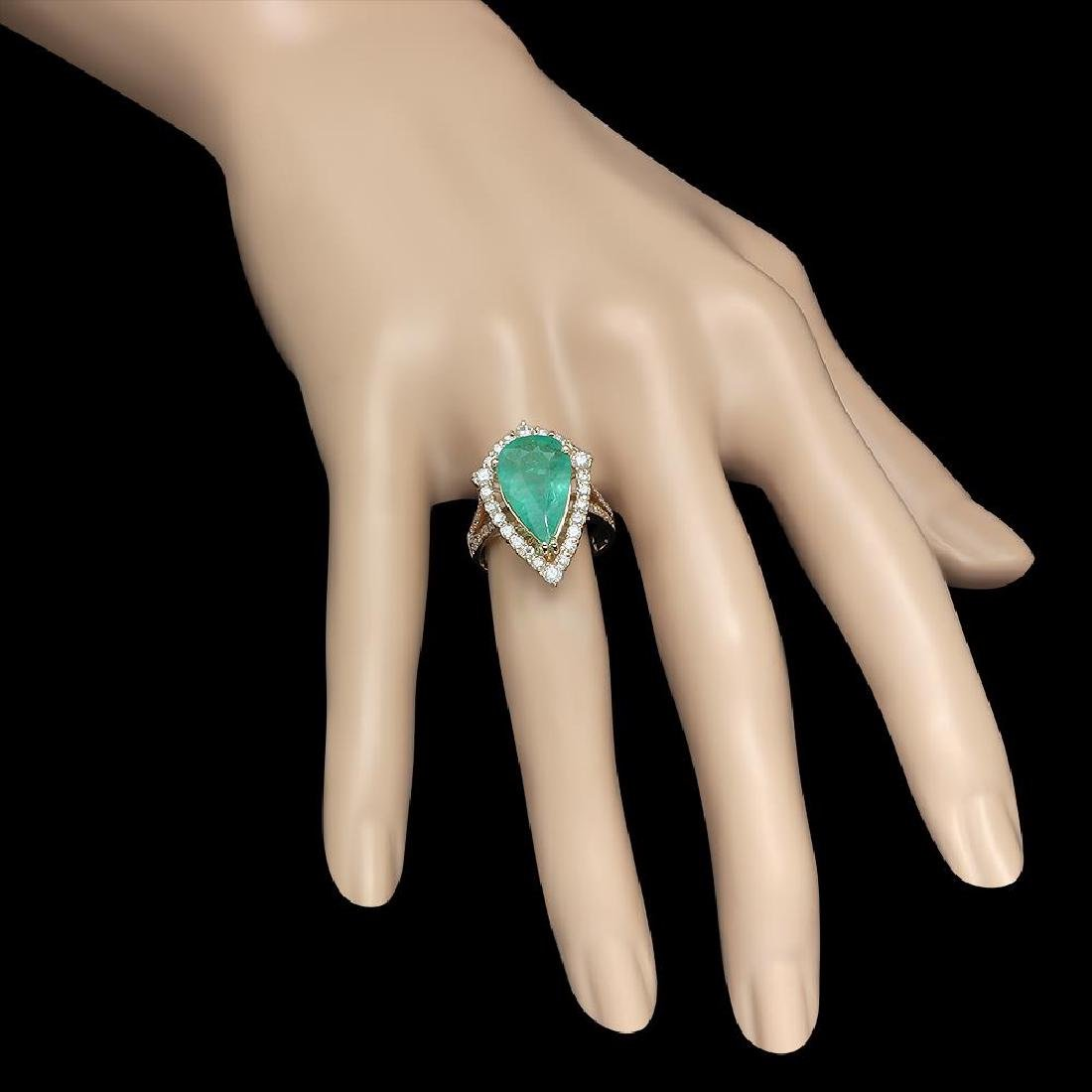 14K Gold 3.82 Emerald 1.05 Diamond Ring - 3