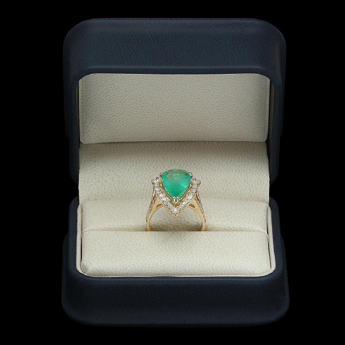 14K Gold 3.82 Emerald 1.05 Diamond Ring - 4