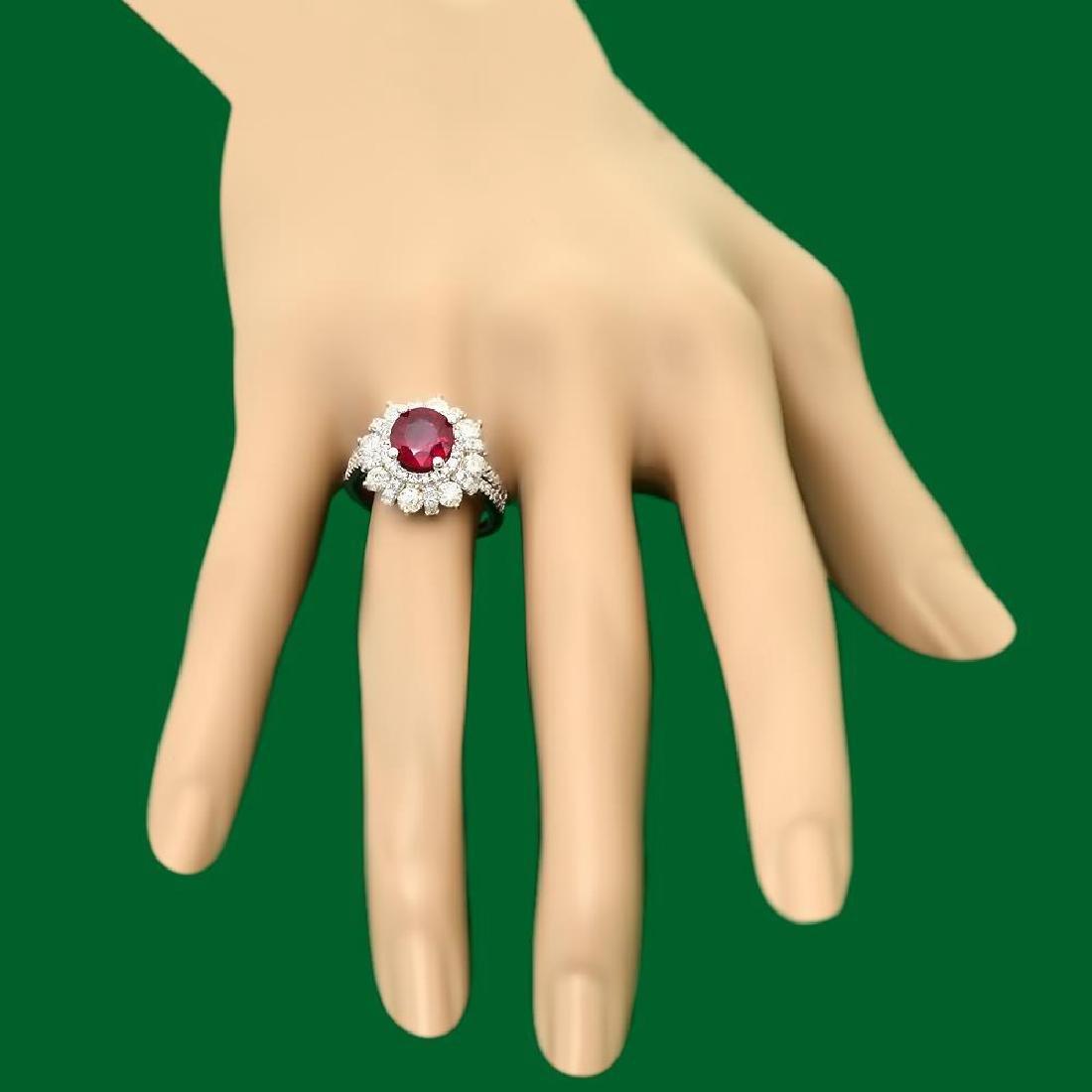 14k Gold 2.52ct Ruby 1.90ct Diamond Ring - 3