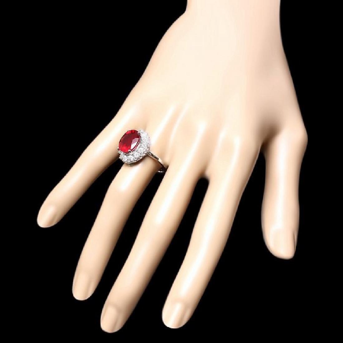 14k White Gold 6.40ct Ruby 1ct Diamond Ring - 3