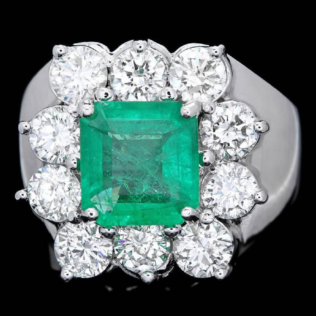 18k White Gold 2.00ct Emerald 2.60ct Diamond Ring