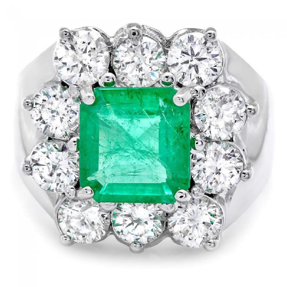 18k White Gold 2.00ct Emerald 2.60ct Diamond Ring - 2
