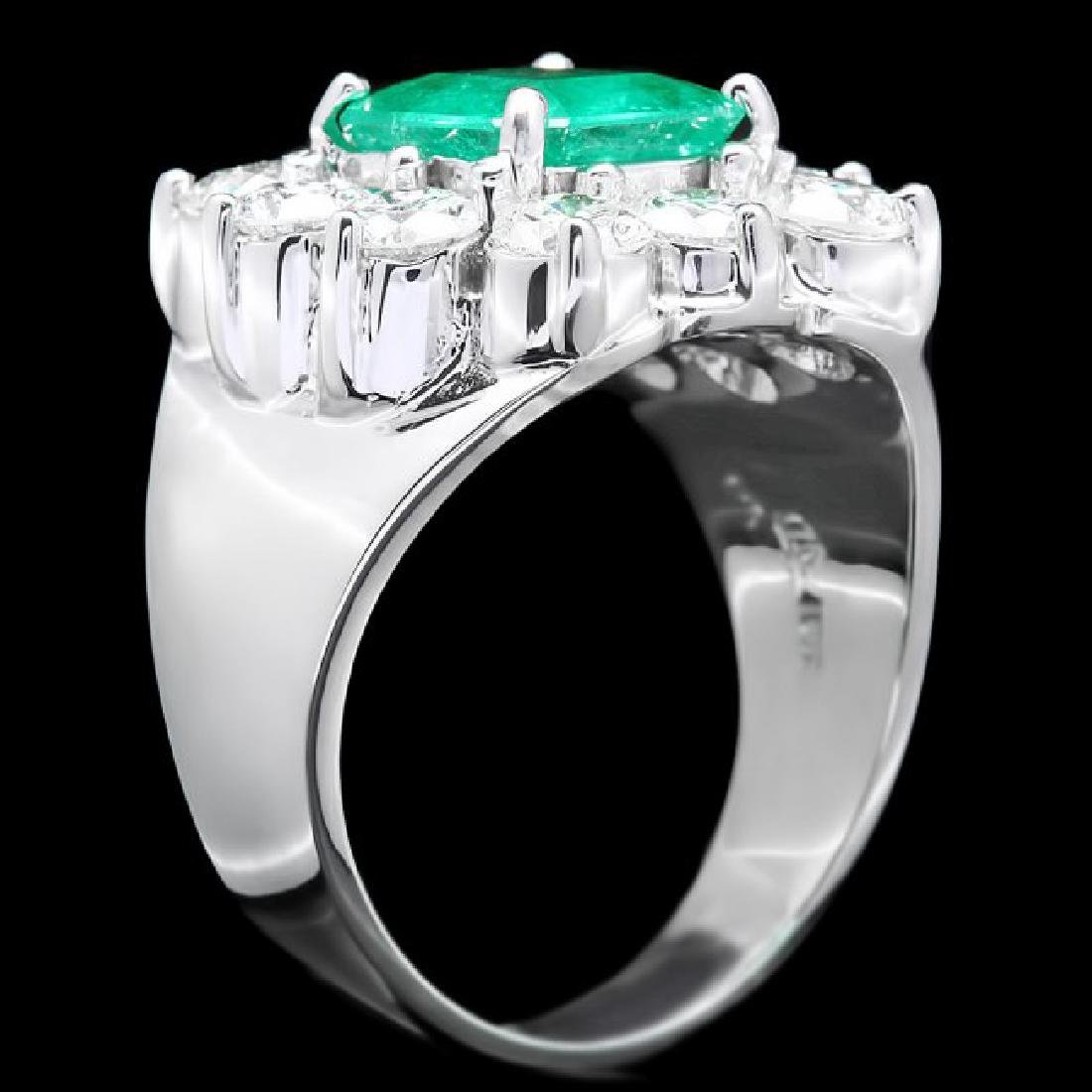 18k White Gold 2.00ct Emerald 2.60ct Diamond Ring - 3