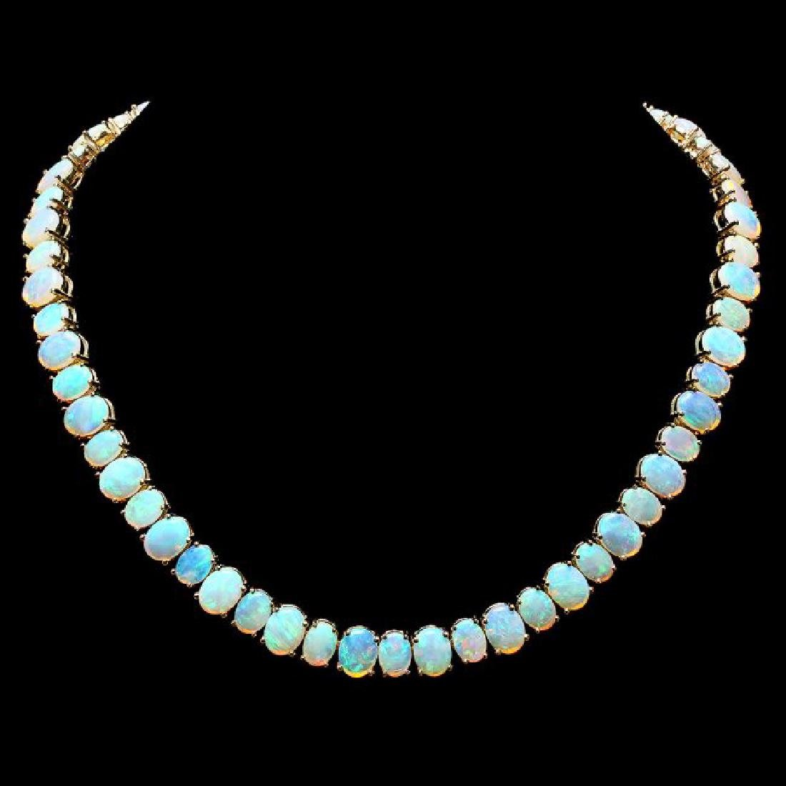 14k Yellow Gold 50.00ct Opal Necklace