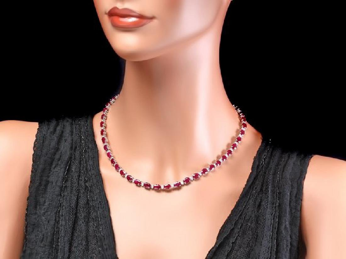 14k Gold 37.00ct Ruby 1.70ct Diamond Necklace - 4