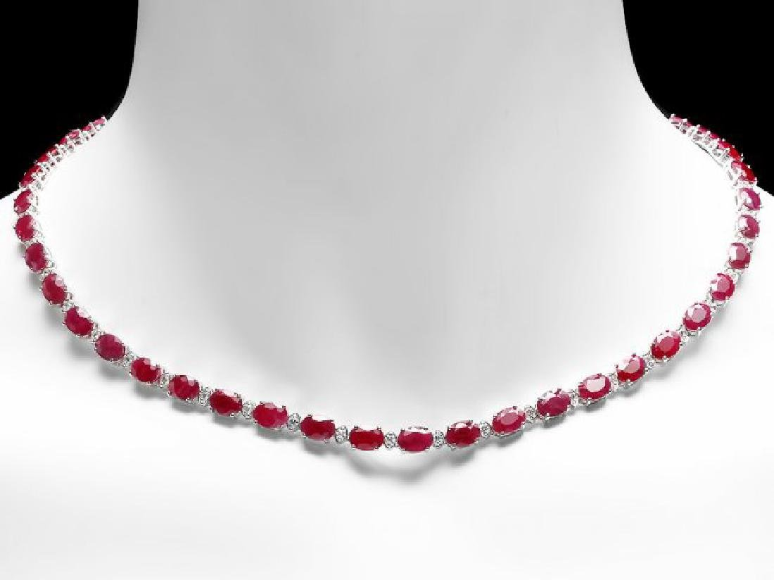 14k Gold 37.00ct Ruby 1.70ct Diamond Necklace - 5