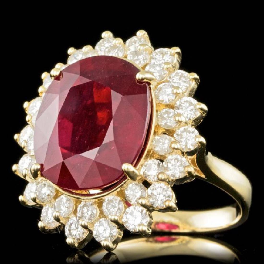 14k Yellow Gold 12.00ct Ruby 1.95ct Diamond Ring - 2