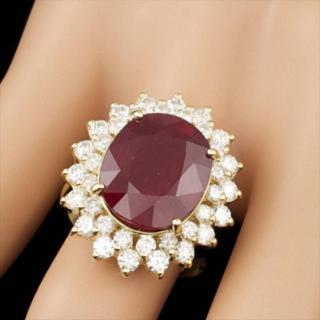 14k Yellow Gold 12.00ct Ruby 1.95ct Diamond Ring - 3