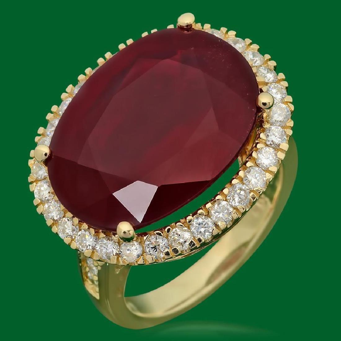 14k Gold 18.30ct Ruby 1.10ct Diamond Ring