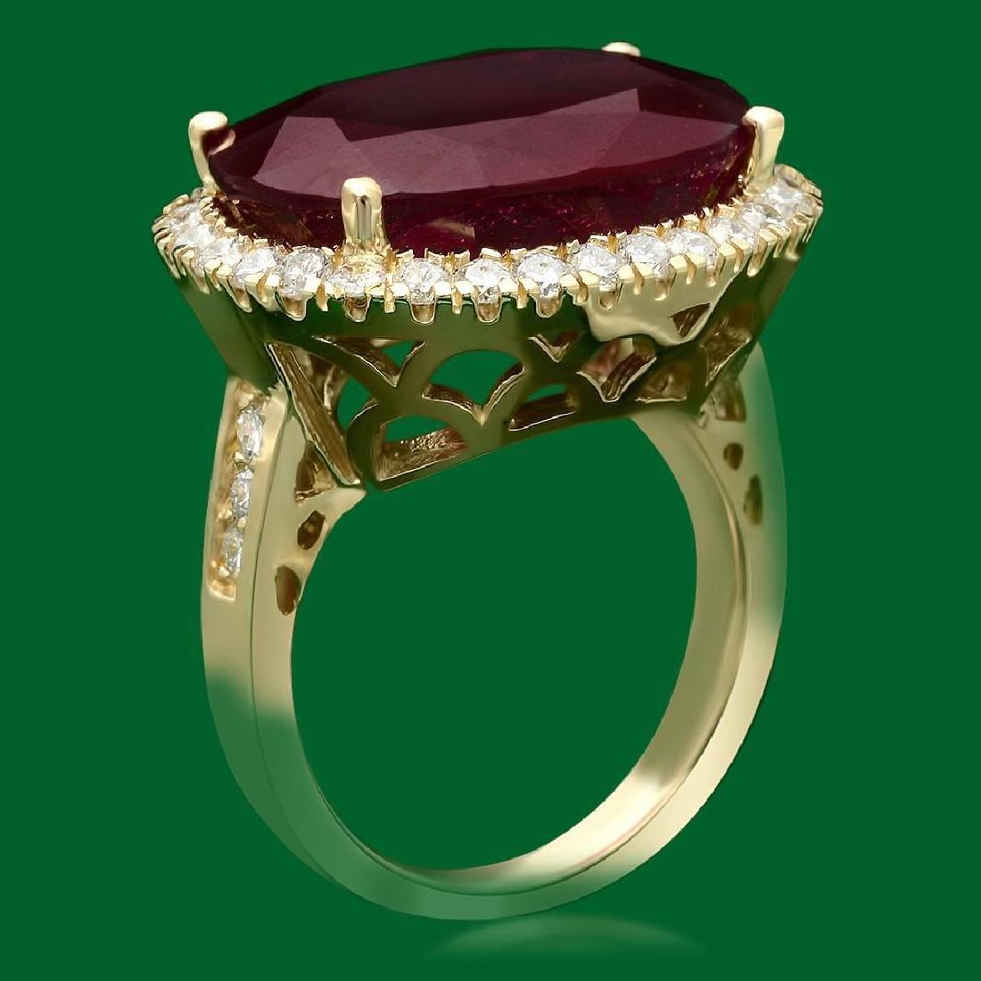 14k Gold 18.30ct Ruby 1.10ct Diamond Ring - 2