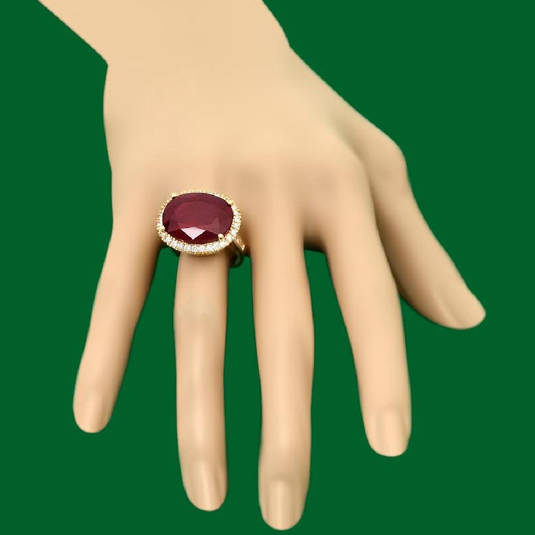 14k Gold 18.30ct Ruby 1.10ct Diamond Ring - 3