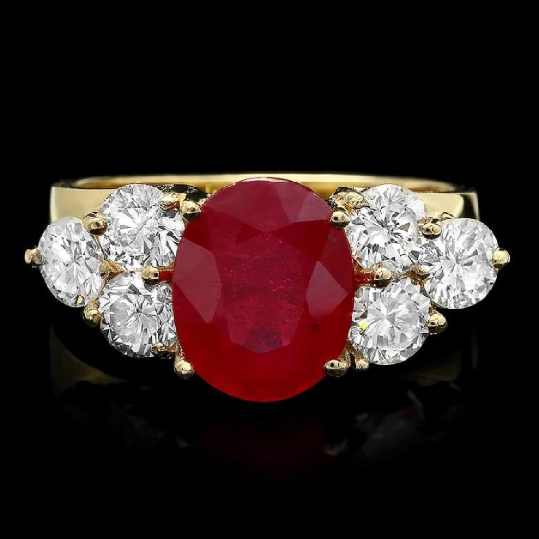14k Yellow Gold 4.00ct Ruby 1.35ct Diamond Ring