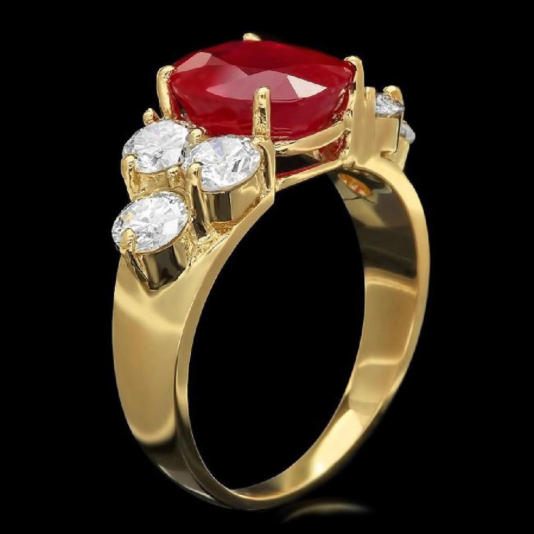 14k Yellow Gold 4.00ct Ruby 1.35ct Diamond Ring - 2
