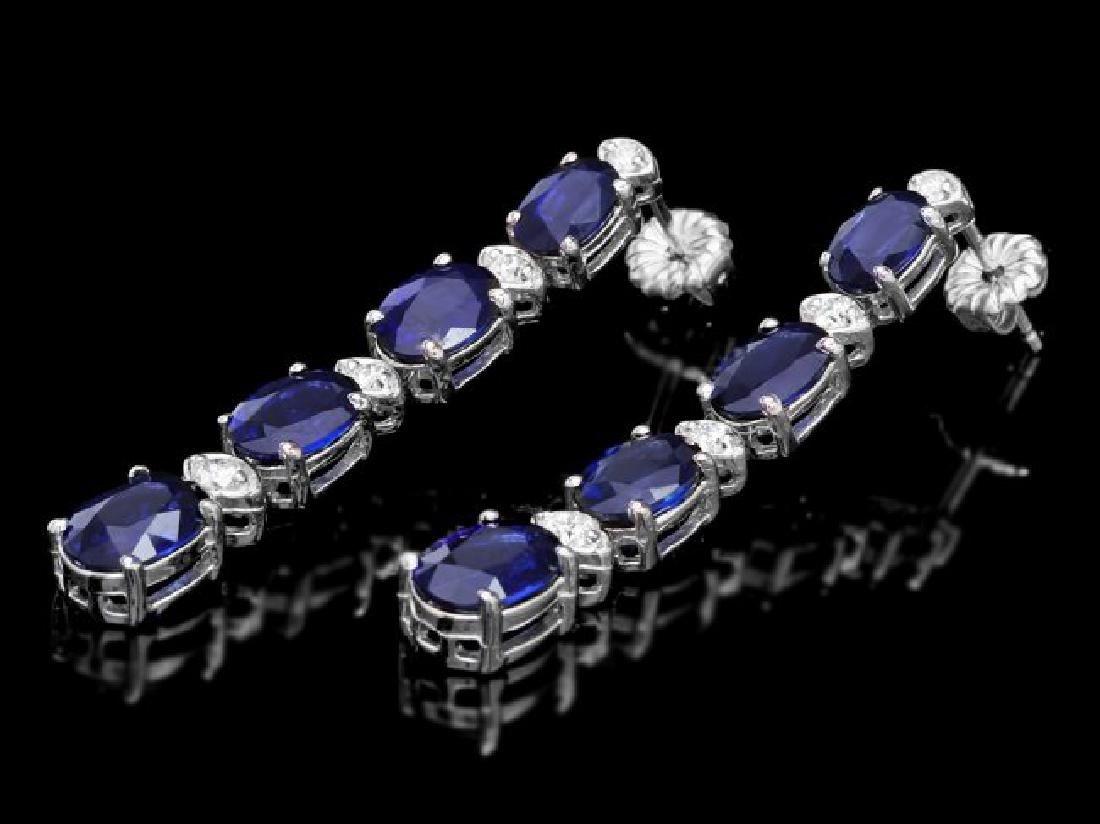 14k Gold 6.00ct Sapphire 0.30ct Diamond Earrings - 2