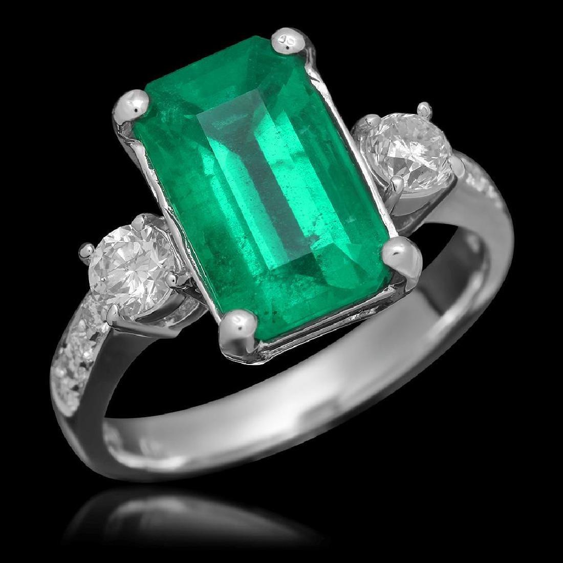 18K Gold 3.68 Emerald .61 Diamond Ring