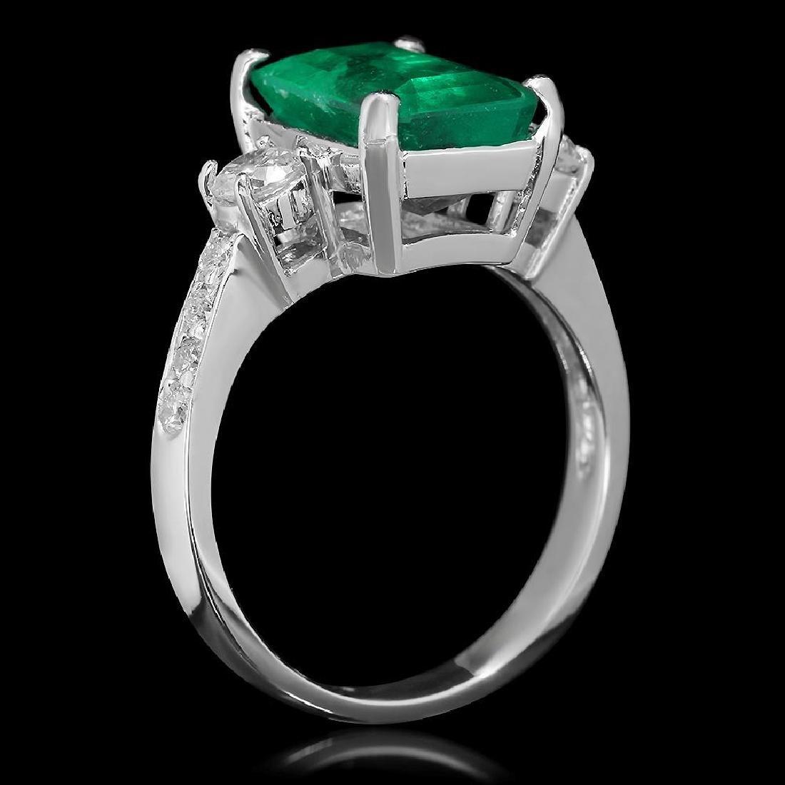 18K Gold 3.68 Emerald .61 Diamond Ring - 2