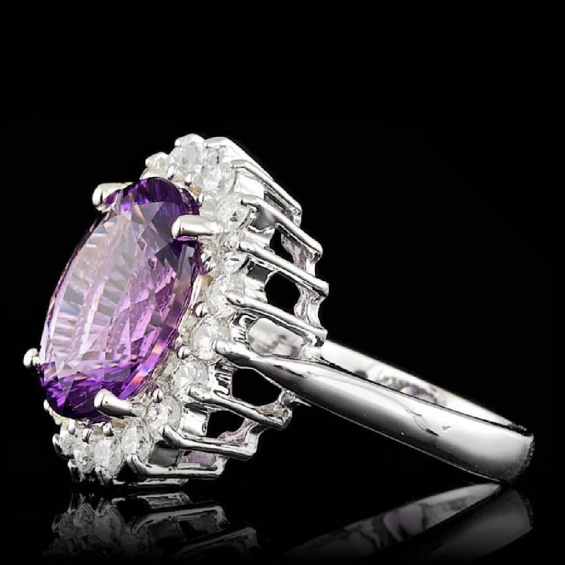 14k Gold 5.00ct Amethyst 1.00ct Diamond Ring - 2