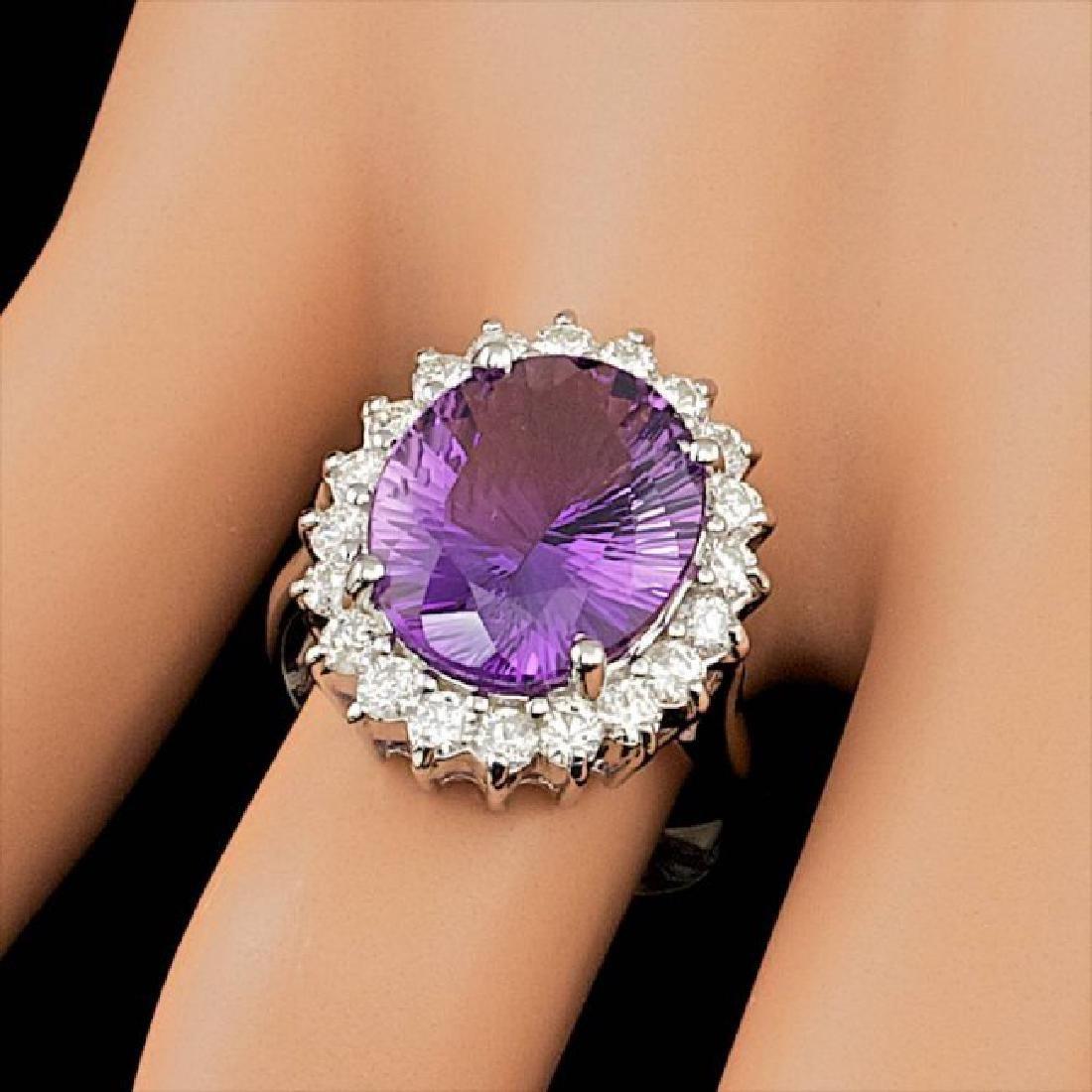14k Gold 5.00ct Amethyst 1.00ct Diamond Ring - 4