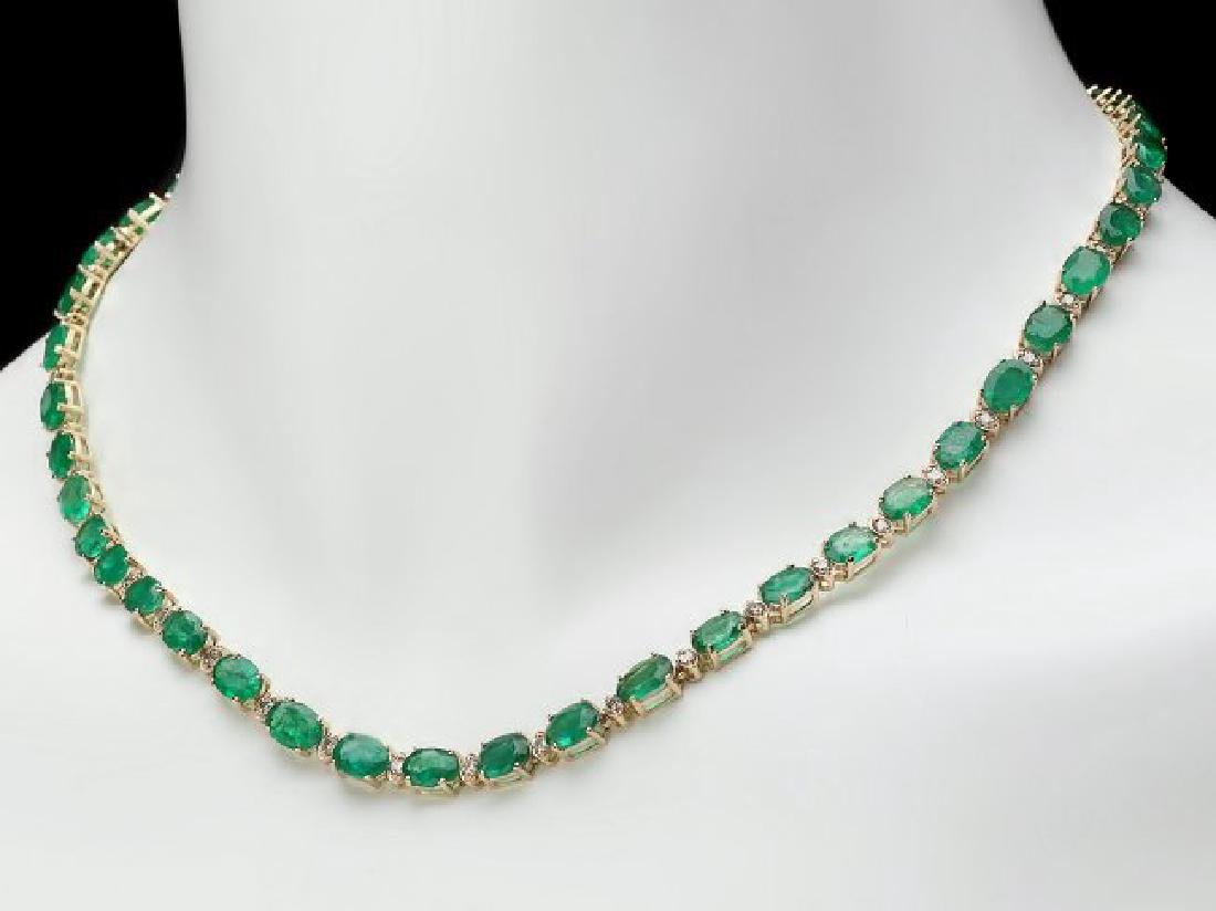 14k Gold 32ct Emerald 1.75ct Diamond Necklace - 5