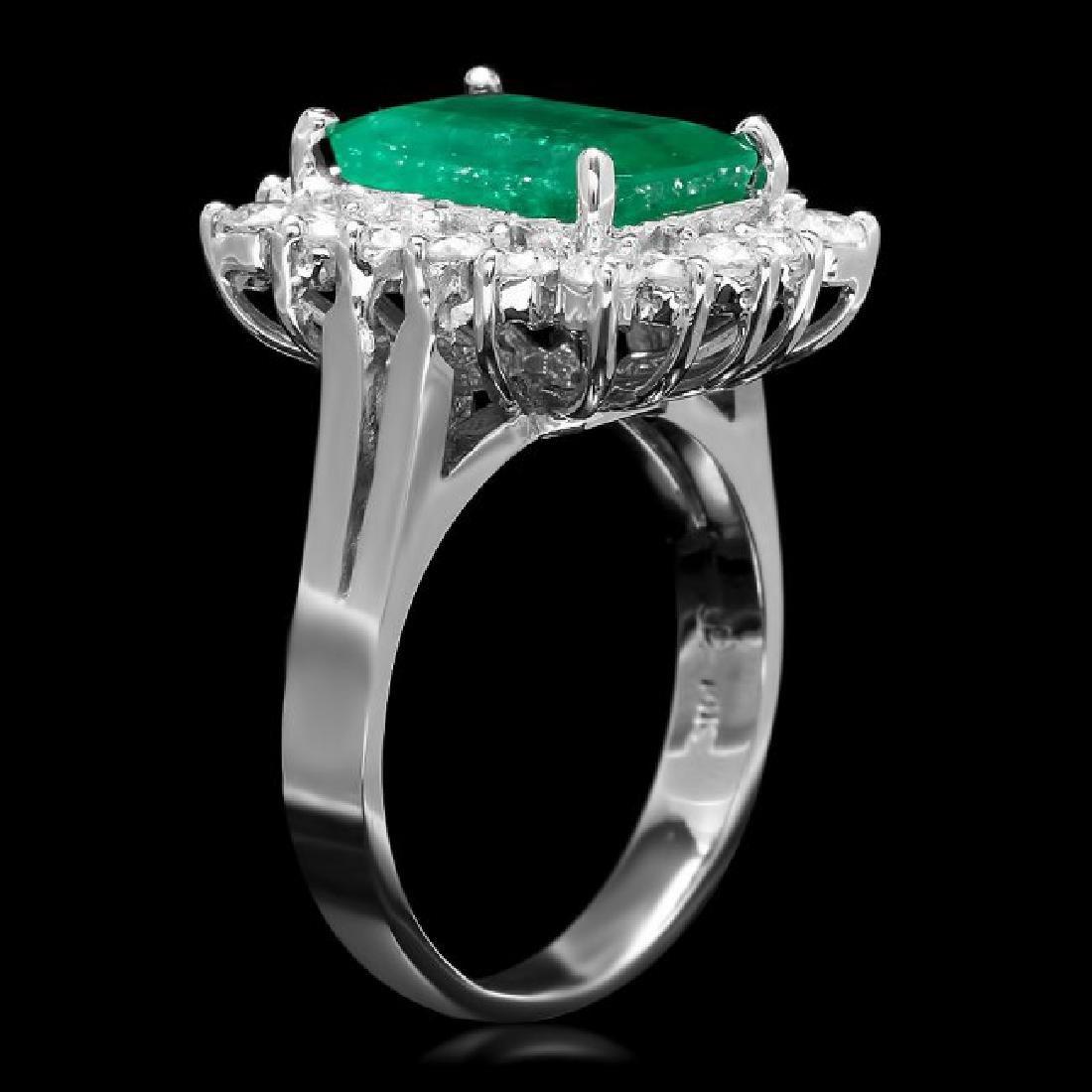 14k White Gold 3.50ct Emerald 0.95ct Diamond Ring - 2