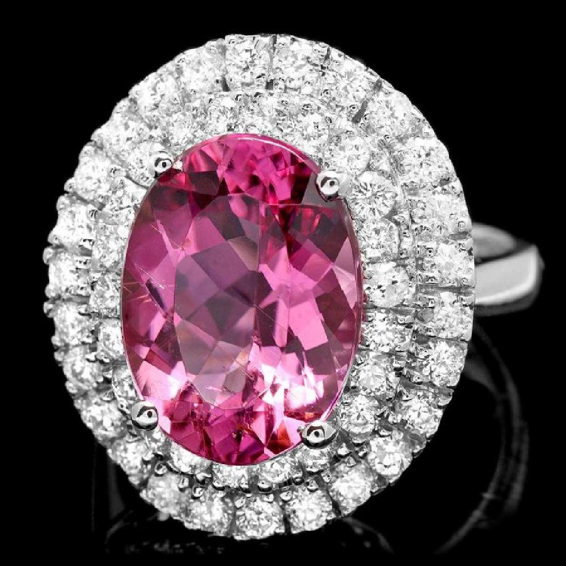 14k Gold 6.55ct Tourmaline 1.45ct Diamond Ring