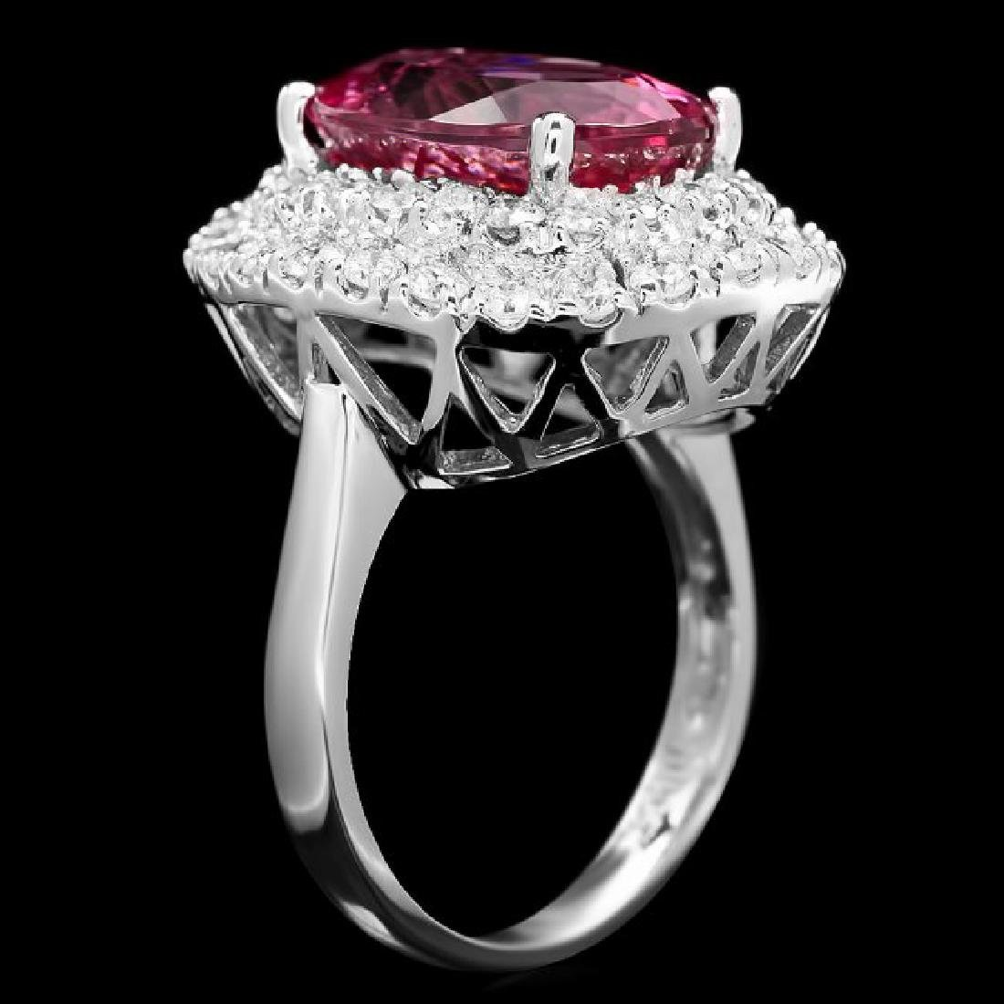 14k Gold 6.55ct Tourmaline 1.45ct Diamond Ring - 2