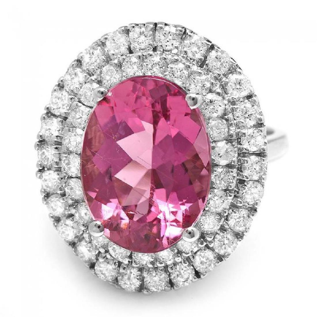 14k Gold 6.55ct Tourmaline 1.45ct Diamond Ring - 3
