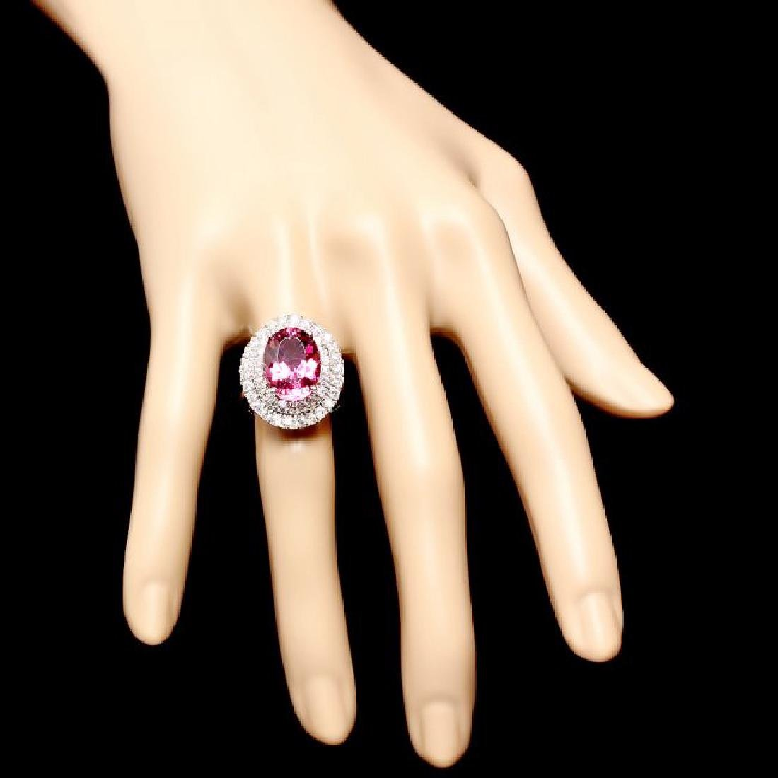 14k Gold 6.55ct Tourmaline 1.45ct Diamond Ring - 4