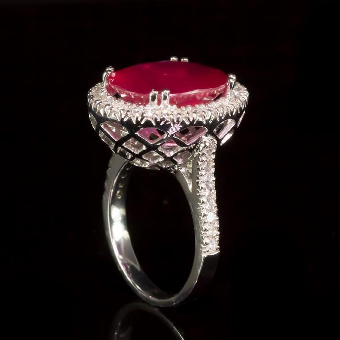 14k Gold 8.94ct Ruby 0.85ct Diamond Ring - 3