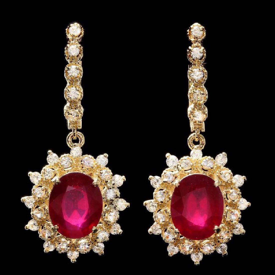 14k Gold 8.00ct Ruby 1.90ct Diamond Earrings