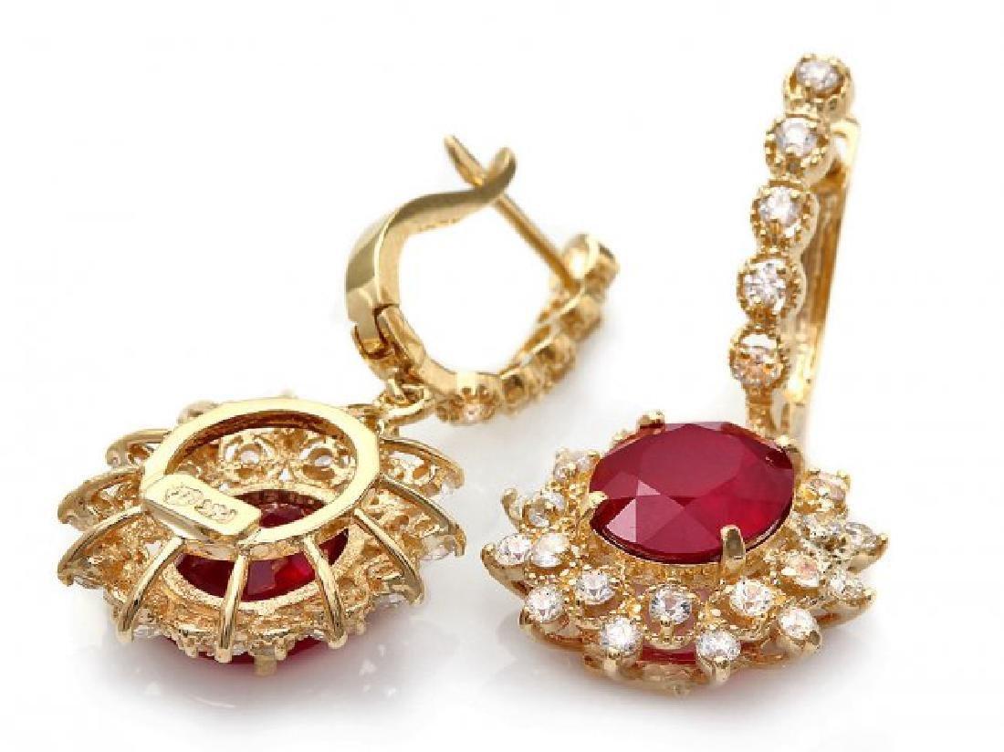14k Gold 8.00ct Ruby 1.90ct Diamond Earrings - 2