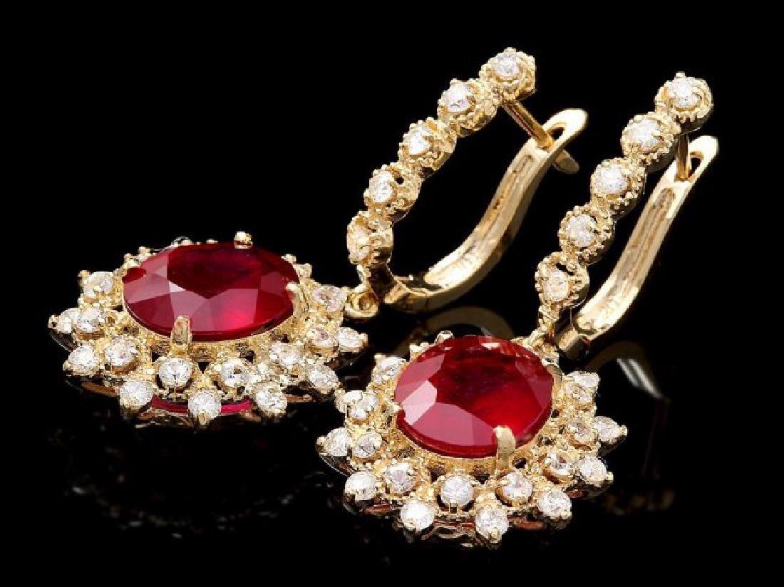 14k Gold 8.00ct Ruby 1.90ct Diamond Earrings - 3