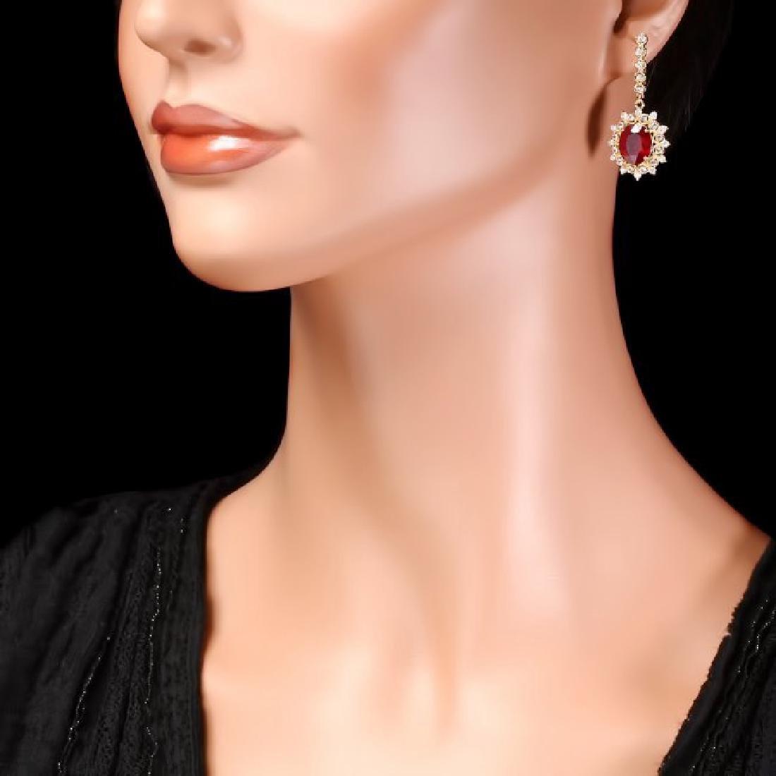 14k Gold 8.00ct Ruby 1.90ct Diamond Earrings - 4