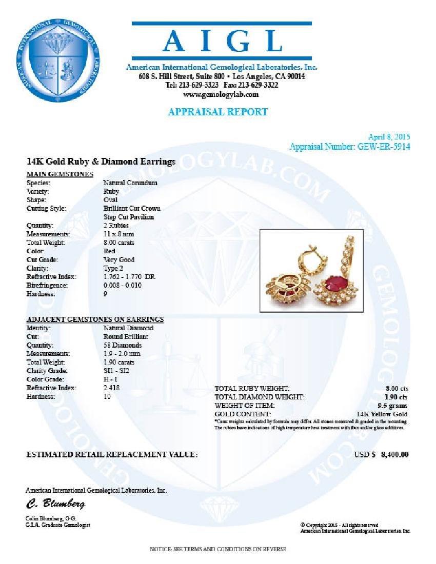 14k Gold 8.00ct Ruby 1.90ct Diamond Earrings - 5