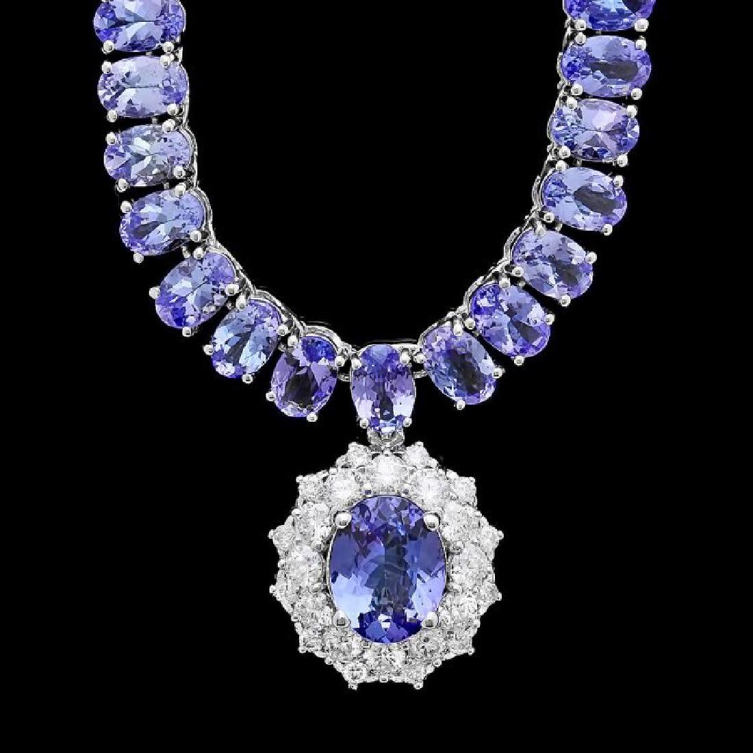 14k W Gold 45ct Tanzanite 1.35ct Diamond Necklace
