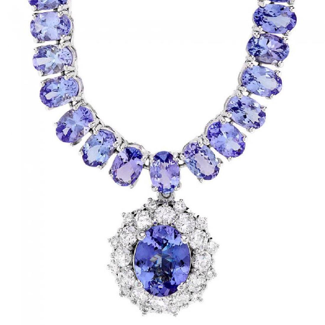 14k W Gold 45ct Tanzanite 1.35ct Diamond Necklace - 2