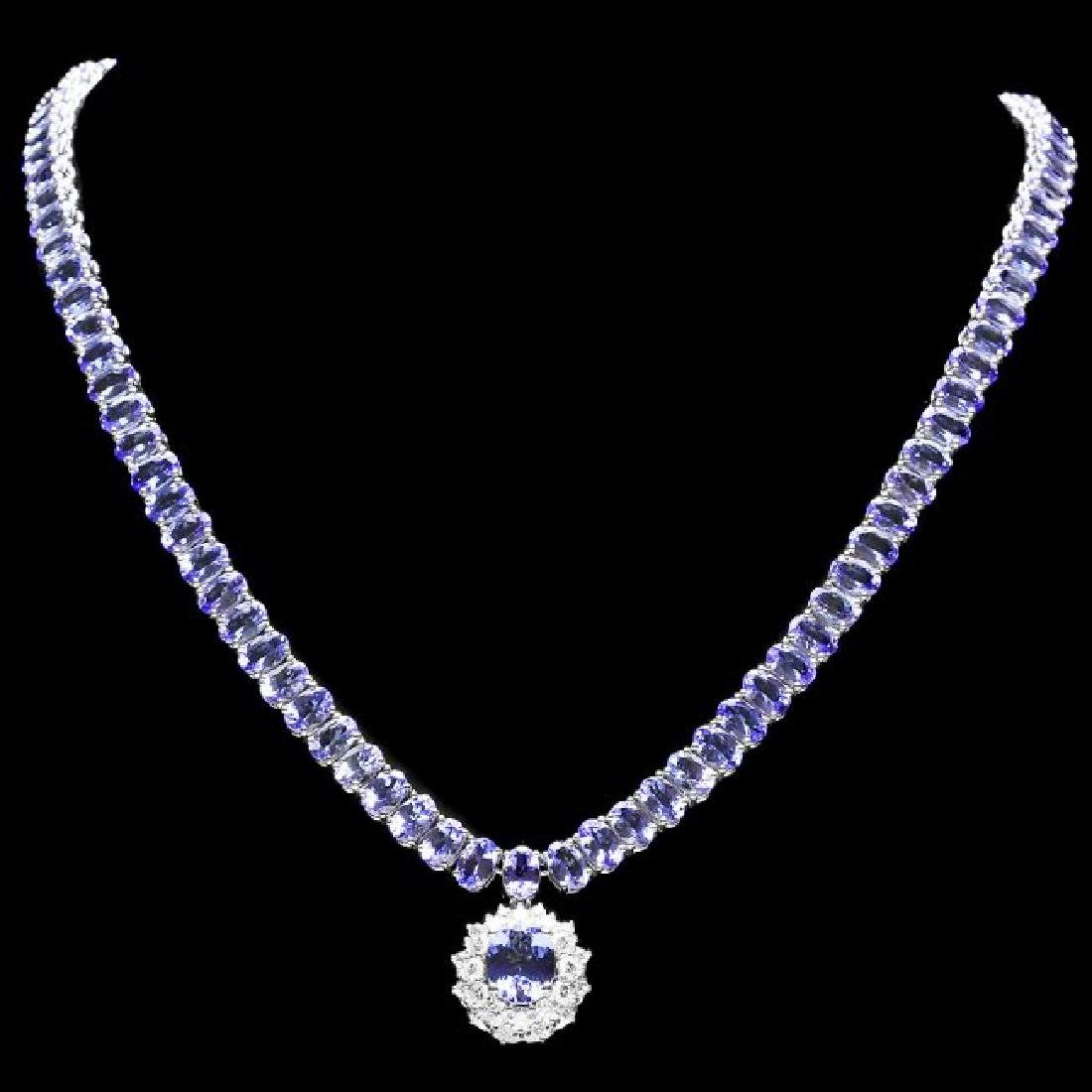 14k W Gold 45ct Tanzanite 1.35ct Diamond Necklace - 3