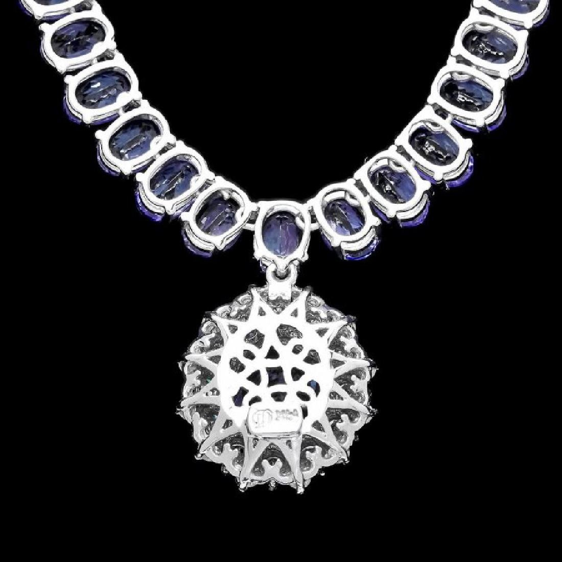 14k W Gold 45ct Tanzanite 1.35ct Diamond Necklace - 5