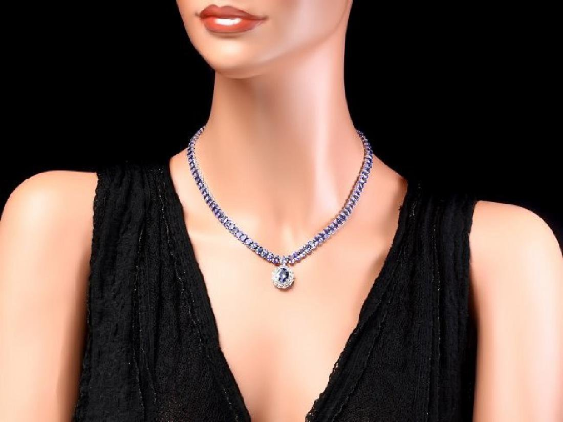 14k W Gold 45ct Tanzanite 1.35ct Diamond Necklace - 6