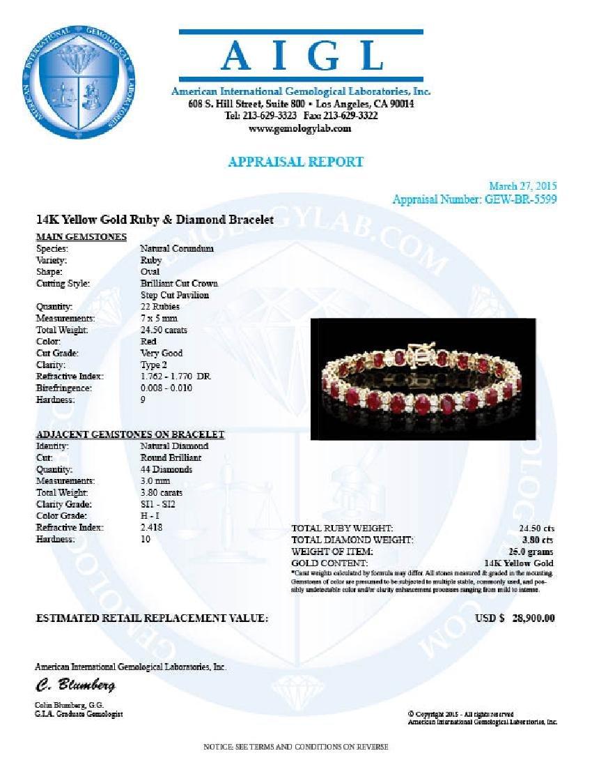 14k Gold 24.50ct Ruby 3.80ct Diamond Bracelet - 5