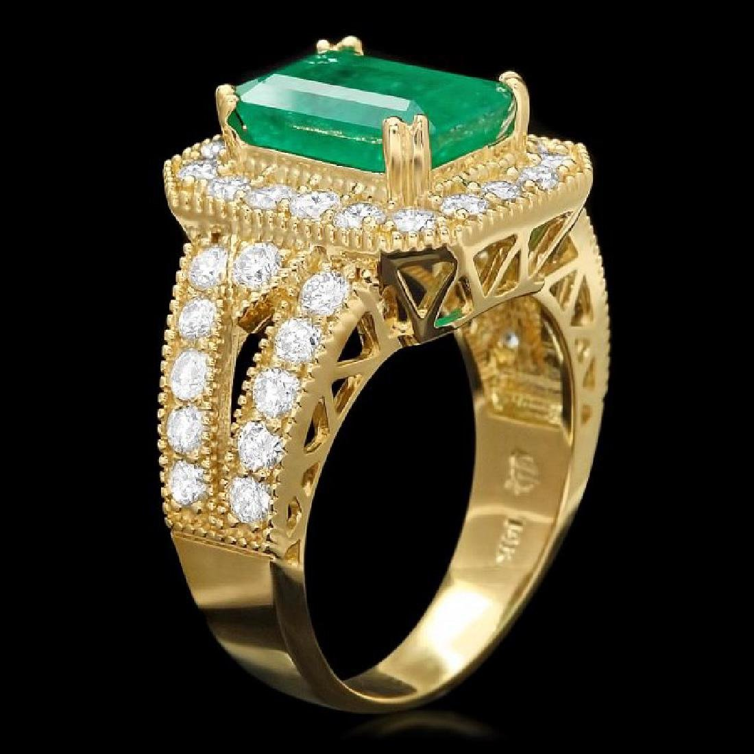 14k Gold 3.00ct Emerald 1.50ct Diamond Ring