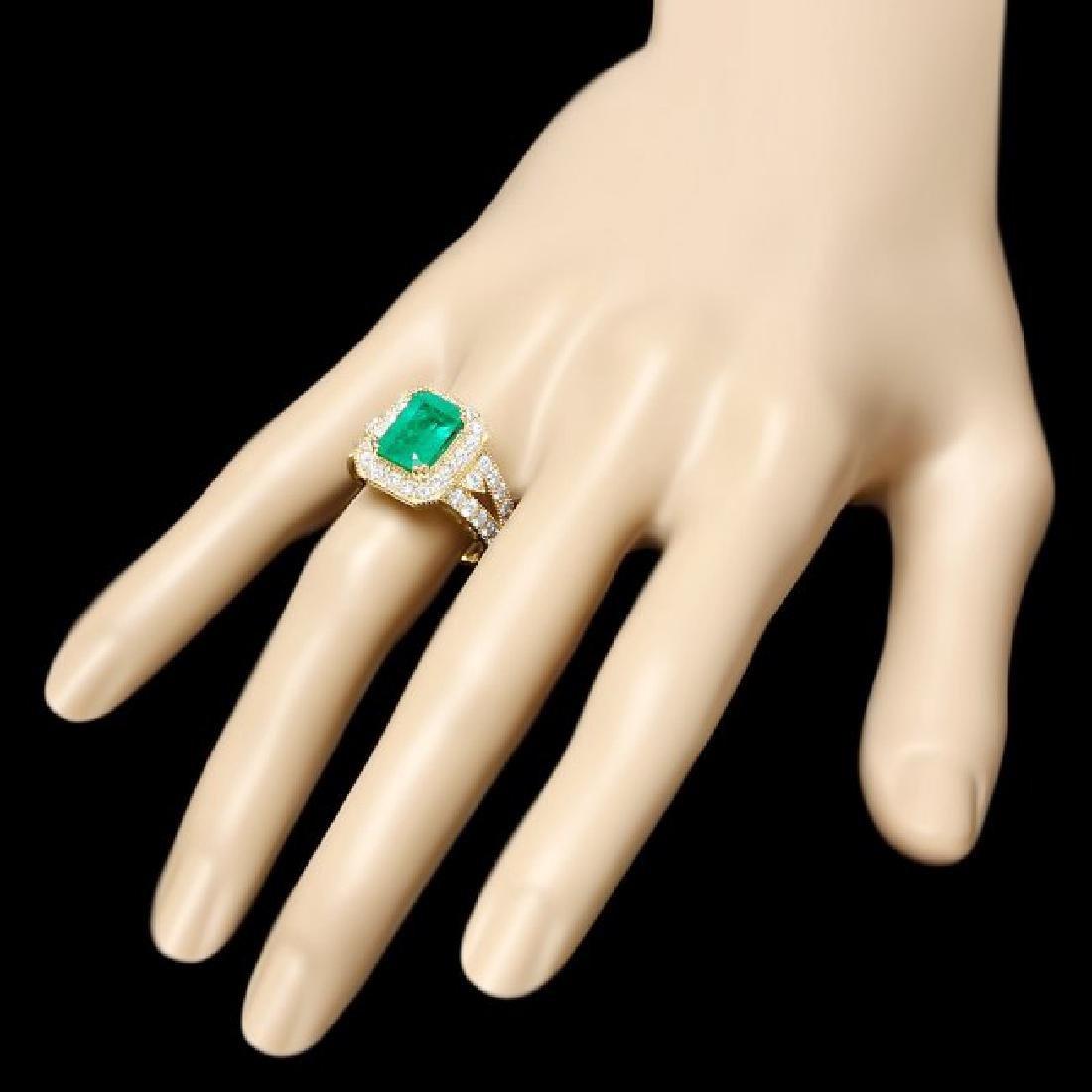 14k Gold 3.00ct Emerald 1.50ct Diamond Ring - 3