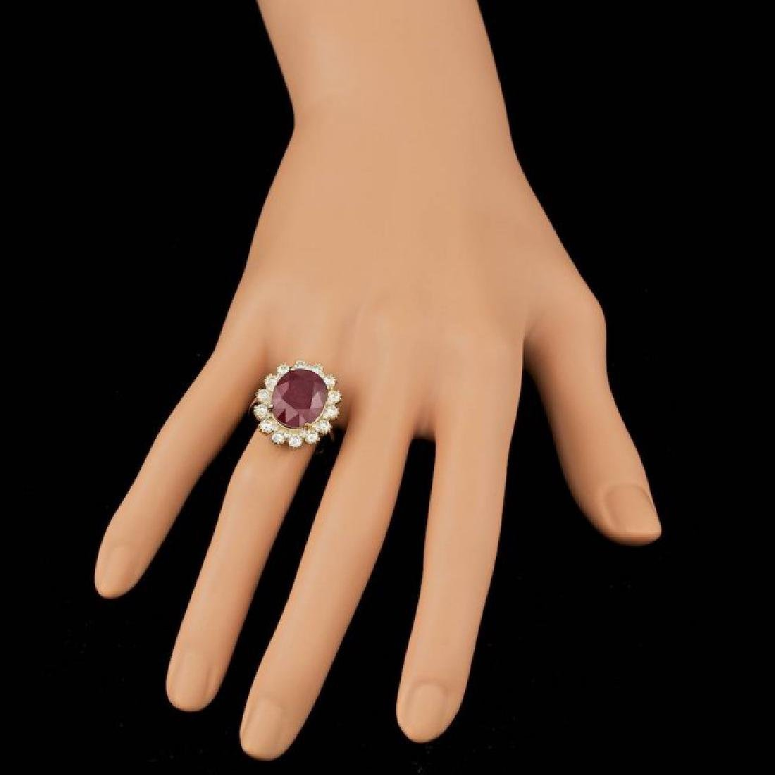 14k Yellow Gold 11.00ct Ruby 1.40ct Diamond Ring - 4