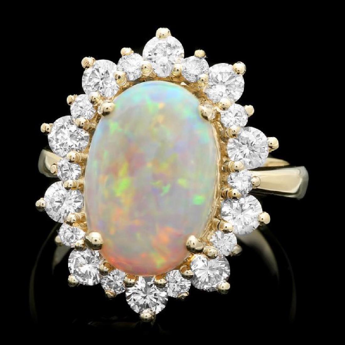 14k Yellow Gold 3.50ct Opal 1.60ct Diamond Ring