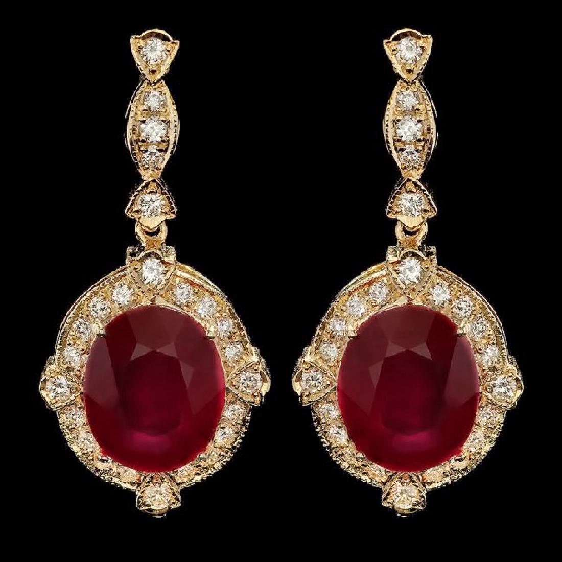 14k Gold 22.50ct Ruby 1.70ct Diamond Earrings
